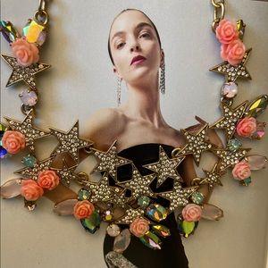 ❤️ JCrew CoralIridescent StarsRhinestone Necklace